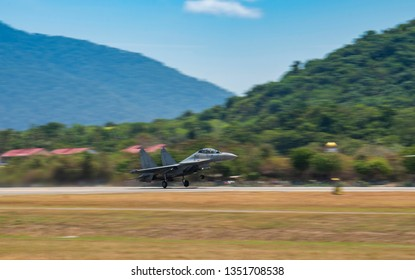 LANGKAWI, MALAYSIA : MARCH 27, 2019 : Malaysian airforce Sukhoi SU-30M takes off for airshow at the LIMA exhibition, Langkawi, Malaysia
