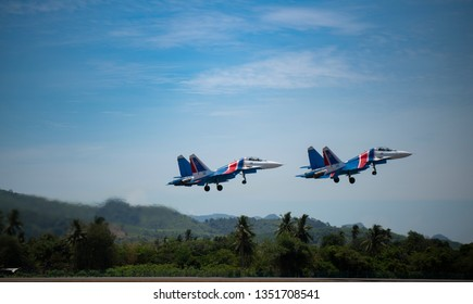 LANGKAWI, MALAYSIA : MARCH 27, 2019 : Two Russian Sukhoi's take off for airshow at the LIMA exhibition, Langkawi, Malaysia