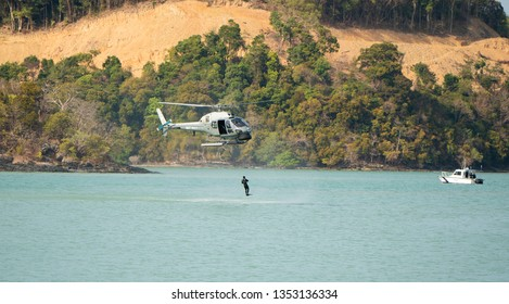 LANGKAWI, MALAYSIA : MARCH 28, 2019 : Naval commando units perform at the LIMA exhibition, Langkawi, Malaysia