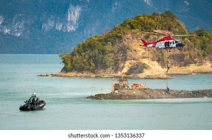 LANGKAWI, MALAYSIA : MARCH 28, 2019 : Naval commando units and Malaysian coastguard stage a rescue operation at the LIMA exhibition, Langkawi, Malaysia