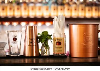 Langkawi, Malaysia / May 20, 2019: Tito's Vodka Presentation. Gluten Free Handmade Vodka From Texas, USA.