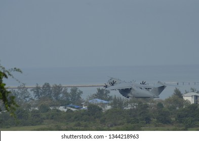 LANGKAWI,MALAYSIA - MARCH 20, 2019: Jet fighter in action at the Langkawi International Maritime & Aerospace Exhibition (LIMA) 2017 Air Show