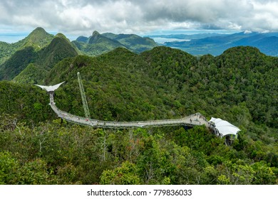 LANGKAWI,MALAYSIA - NOVEMBER 30,2017: Langkawi Sky Bridge is a 125-meters curved pedestrian cable-stayed bridge in Malaysia, completed in 2005.The bridge deck is located 660 meters above sea level.