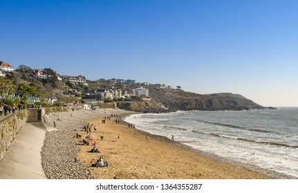 LANGLAND BAY, GOWER, WALES - FEBRUARY 2019: Langland Bay on the Gower penninsula in Wales.