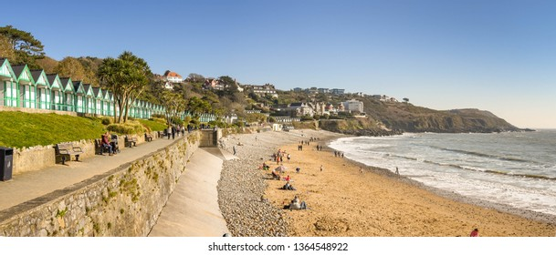 LANGLAND BAY, GOWER, WALES - FEBRUARY 2019: Panoramic view of Langland Bay on the Gower penninsula in Wales.