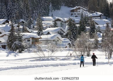 Langlaufer, cross country skiing, in Davos during winter, Switzerland