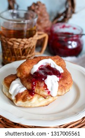 langos with jam sour cream