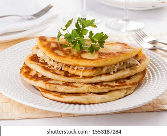 Langos, traditional Hungarian pancake with cheese