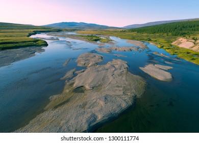 Langot-Yogan river on august morning. Yamal, Russia