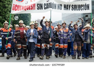 LANGREO, SPAIN - JUNE 18: About 25,000 miners and residents of the miners zone of Asturias demonstrate against close-downs and financial cuts in the carbon sector on June 18th, 2012 in Langreo, Spain