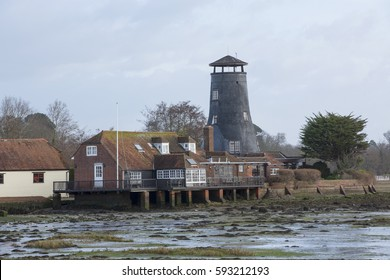 LANGSTONE ENGLAND: 5th MARCH 2017. Langstone Windmill a Grade II listed tower mill at Langstone, Hampshire in England. It is also a Scheduled Ancient Monument  now been converted to residential