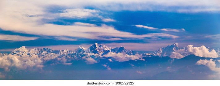 Langtang range of Himalaya from Nagarkot village, Nepal