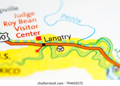 Langtry. Texas. USA on a map