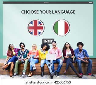 Language Dictionary English Italian Concept