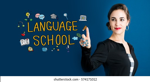 Language School text with business woman on a dark blue background