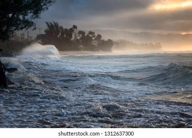 Laniakea Beach on Oahu, Hawaii on a cloudy and windy day near
