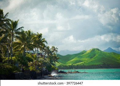 Lanikai Beach on the windward coast of Oahu, Hawaii Vacation