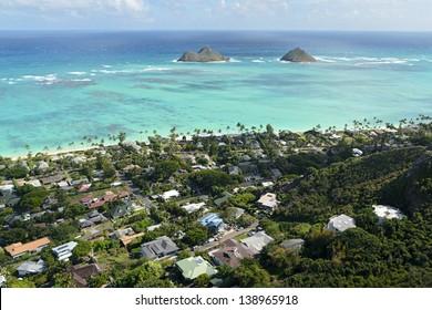 Lanikai Beach as seen from above in Kailua, O'ahu, Hawai'i