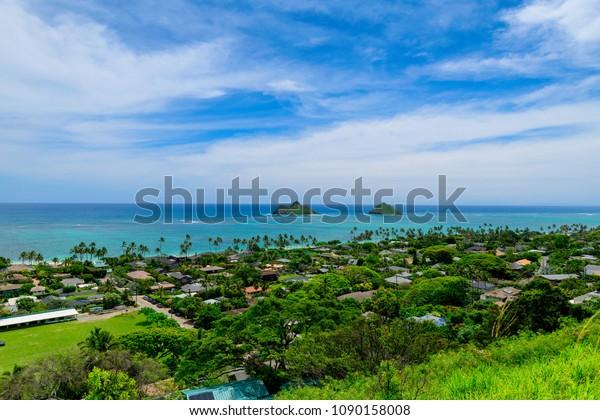 Lanikai Beach Seen Above Kailua Oahu Stock Photo Edit Now