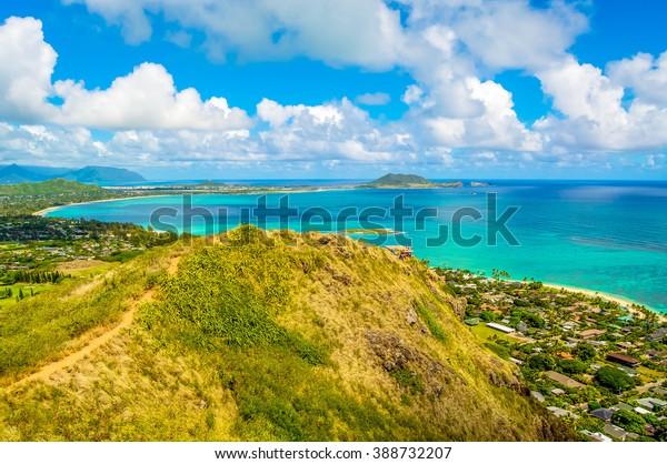 Lanikai Pillbox Hiking trail along a steep ridge leading to a World War II pillbox in southwest Oahu, Hawaii.