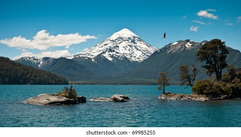 Lanin volcano with snowcapped in Patagonia Argentina