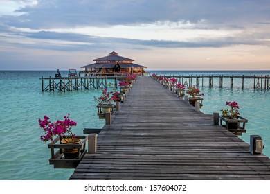 Lankayan island resort at sunset in Borneo, Malaysia