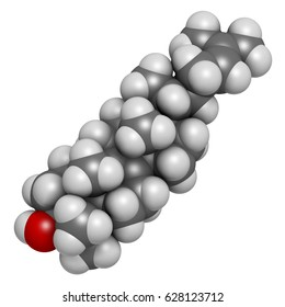 Lanosterol molecule. Investigated for treatment of cataract. 3D rendering. Atoms are represented as spheres with conventional color coding: hydrogen (white), carbon (grey), oxygen (red).