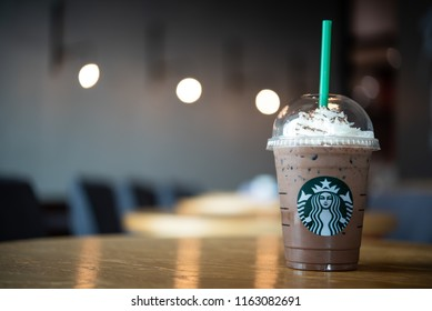 LANPHUN, THAILAND - August 04, 2018: Starbuck Frappuccino Starbucks is the world's largest coffeehouse and is highly popular.