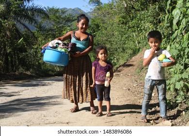 Lanquin, Guatemala - 2018: The kids of Guatemala. Cute kids in the highlands of Guatemala.
