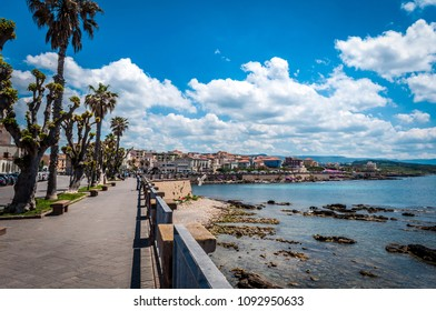 Lanscape of the city of Alghero - Sardinia in a sunny and cloudy day of spring