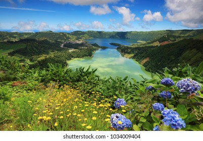 Lanscape of Sete Citades in Sao Miguel Island of Azores Portugal