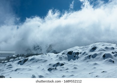 Lanscape of snow mountain with blue sky name's Jade Dragon Snow Mountain in Lijiang City, China