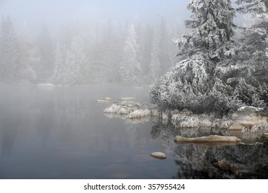 Lanscape with trees,waters and fogs on the Strbske Pleso,Slovakia