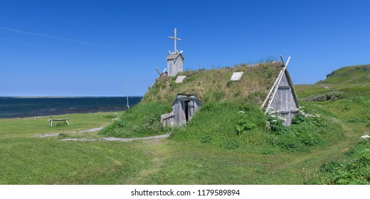 L'ANSE AUX MEADOWS, NEWFOUNDLAND - AUGUST 1, 2018: Exterior of sod church at Norstead, a Viking Village and Port of Trade that is a reconstruction of a Viking Age settlement