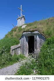 L'ANSE AUX MEADOWS, NEWFOUNDLAND/CANADA - AUGUST 1, 2018: Exterior of a sod church at Norstead, a A Viking Village and Port of Trade that is a reconstruction of a Viking Age settlement
