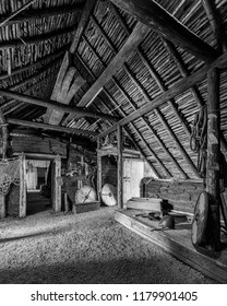 L'ANSE AUX MEADOWS, NEWFOUNDLAND/CANADA - AUGUST 1, 2018:  Interior of a reconstructed building at an archaeological Viking site on the northernmost tip of the island of Newfoundland