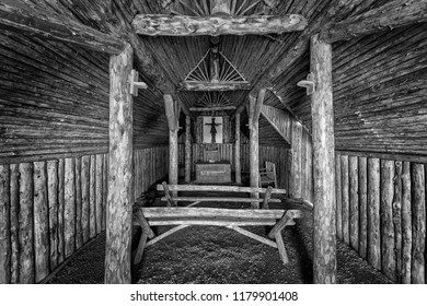 L'ANSE AUX MEADOWS, NEWFOUNDLAND/CANADA - AUGUST 1, 2018: Interior of a sod church at Norstead, a A Viking Village and Port of Trade that is a reconstruction of a Viking Age settlement