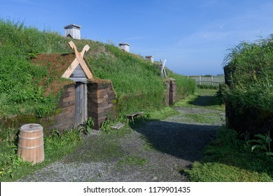 L'ANSE AUX MEADOWS, NEWFOUNDLAND/CANADA - AUGUST 1, 2018: Reconstructed buildings at an archaeological Viking site on the northernmost tip of the island of Newfoundland