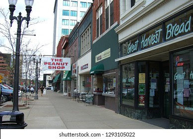 LANSING, MICHIGAN – APRIL 10: Downtown stores and shops on April 10, 2010 in Lansing, MI. The city is the fifth largest in Michigan.
