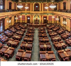 Lansing, Michigan, USA - January 20, 22018: Balcony view of the Michigan House of Representatives chamber in the state capitol building of Lansing, Michigan.