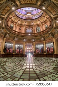 LANSING, MICHIGAN, USA - NOVEMBER 6: Rotunda and inner dome of the Michigan State Capitol building on November 6, 2017 in Lansing, Michigan