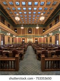 LANSING, MICHIGAN, USA - NOVEMBER 6: Michigan State Capitol building on November 6, 2017 in Lansing, Michigan