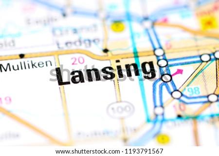 Lansing Michigan USA On Map Stock Photo (Edit Now) 1193791567 ...