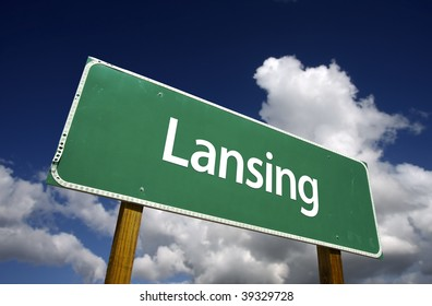Lansing Road Sign with dramatic blue sky and clouds - U.S. State Capitals Series.