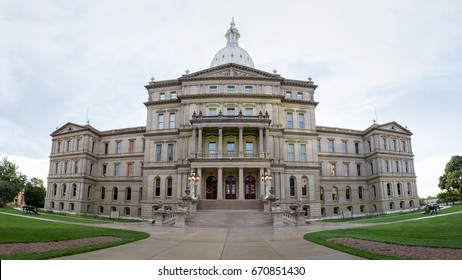 Lansing State Capitol Building in Michigan after a rainy day with the clouds still out. A panorama of the building to show more scale.