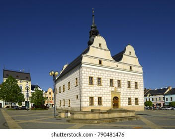 LANSKROUN, CZECH REPUBLIC - MAY 18, 2017: Renaissance town hall built between 1581-82. Lanskroun also known as Lanskron, Lanscron, Landeskrone, and Kronland, is a town in the Pardubice Region