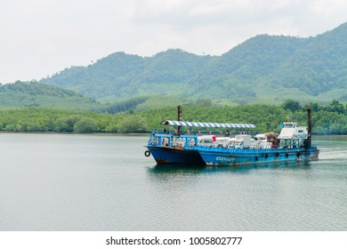 LANTA, KRABI, THAILAND - 17 OCT 2014: Ferry boat vessel for passengers and cars from mainland to Koh Lanta Noi island on the sea.