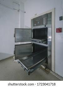 Lantana, Florida/USA - September 22, 2013: The morgue inside the abandoned A.G. Holley Tuberculosis State Hospital in Lantana, Florida, the last operating tuberculosis sanatorium in the USA