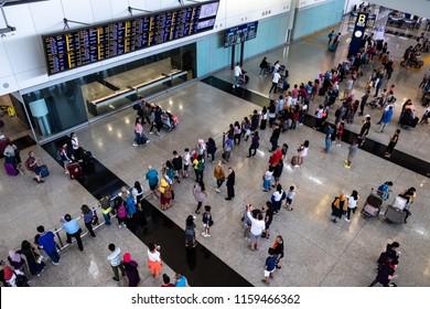 Lantau, Hong Kong  - August 05, 2018 :  Passengers arrival at Hong Kong International Airport