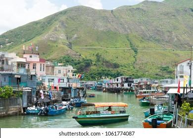 Lantau Island, Hong Kong - Jun 10 2017: Tai O fishing Village in Lantau Island, Hong Kong. a famous Tourist spot.